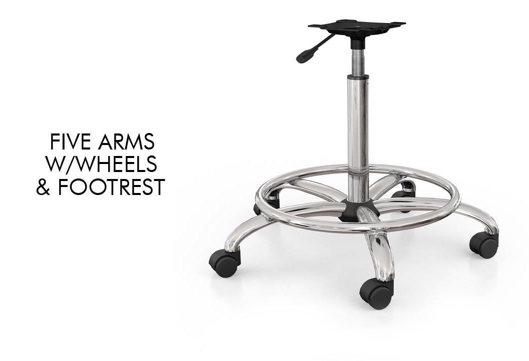 Five arms w/wheels & footrest